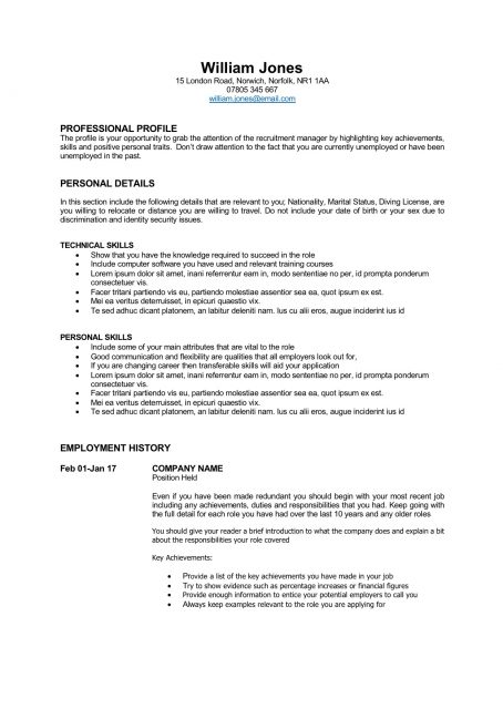 career change cv template